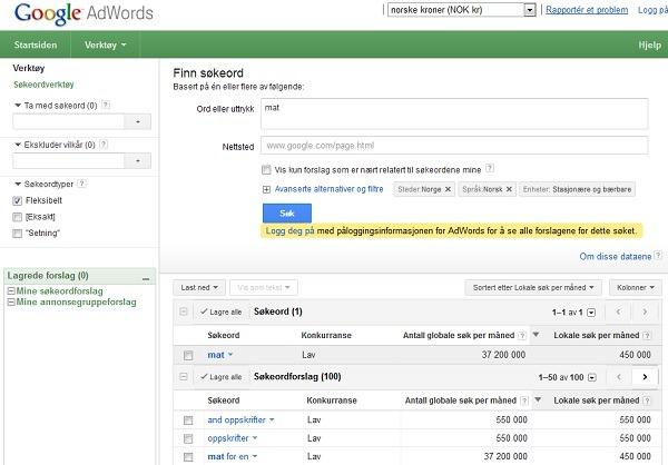 Bilde av Google Keyword Tools for å finne antall søk på et søkeord